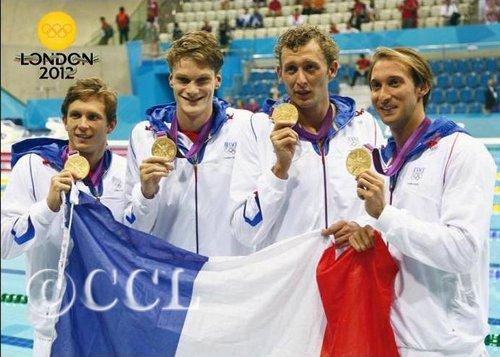 Natation-4x100m-Lefert-Agniel-Leveaux-Gilot dans Cartophilie