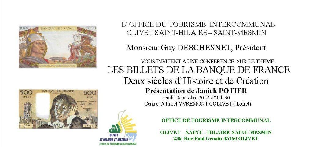 L'histoire des billets de la Banque de France à Olivet dans Divers CARTE-INVITATION-Olivet